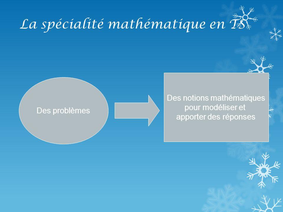 La spécialité mathématique en TS Deux thèmes détudes : Arithmétique Matrices et suites On utilisera aussi les probabilités