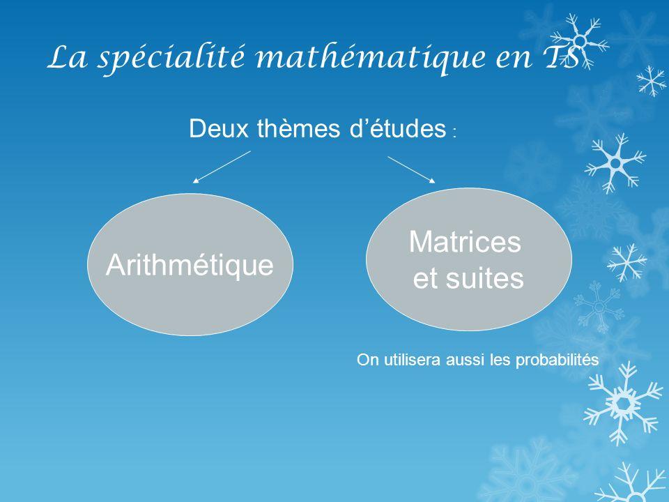 La spécialité mathématique en TS Arithmétique : exemples de problème : Problème de codages : codes barres, code ISBN, clé du RIB, code Insee