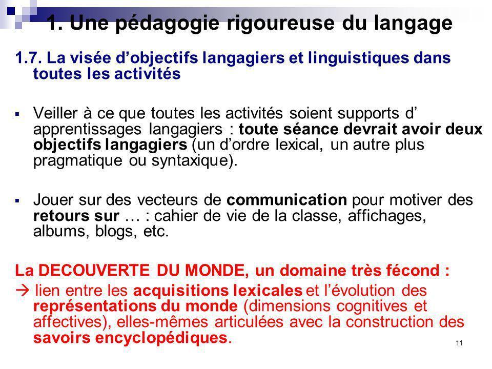 11 1. Une pédagogie rigoureuse du langage 1.7. La visée dobjectifs langagiers et linguistiques dans toutes les activités Veiller à ce que toutes les a