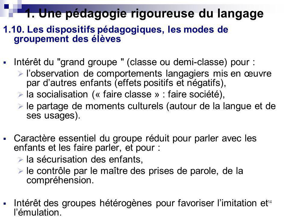 14 1. Une pédagogie rigoureuse du langage 1.10. Les dispositifs pédagogiques, les modes de groupement des élèves Intérêt du