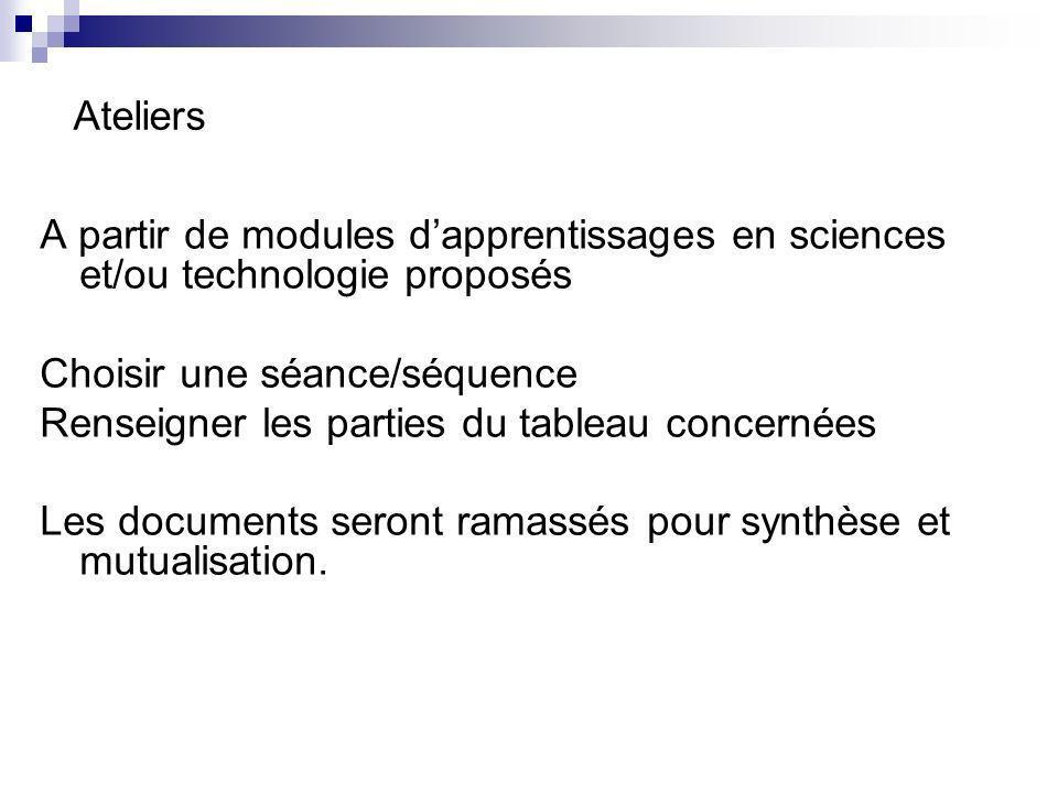 Ateliers A partir de modules dapprentissages en sciences et/ou technologie proposés Choisir une séance/séquence Renseigner les parties du tableau conc