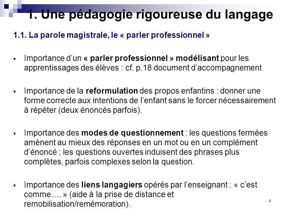 4 1. Une pédagogie rigoureuse du langage 1.1. La parole magistrale, le « parler professionnel » Importance dun « parler professionnel » modélisant pou