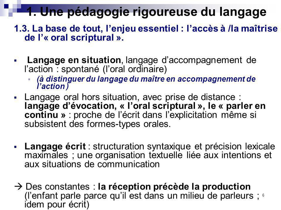 6 1. Une pédagogie rigoureuse du langage 1.3. La base de tout, lenjeu essentiel : laccès à /la maîtrise de l« oral scriptural ». Langage en situation,