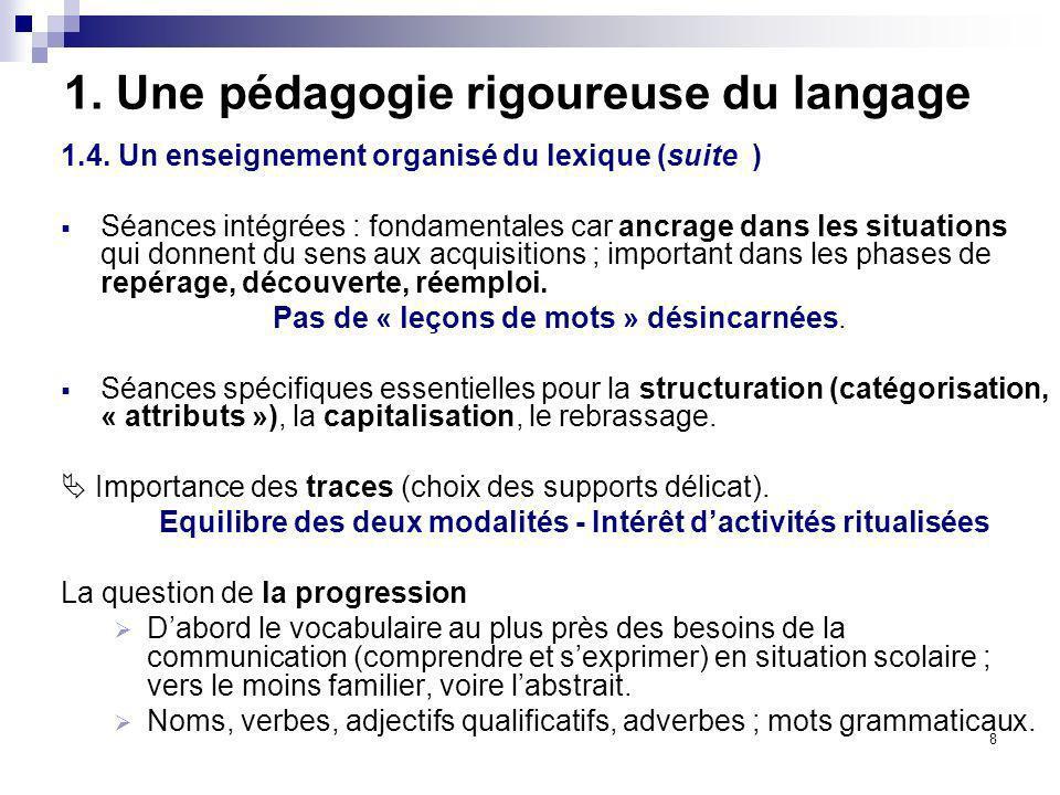 8 1. Une pédagogie rigoureuse du langage 1.4. Un enseignement organisé du lexique (suite ) Séances intégrées : fondamentales car ancrage dans les situ