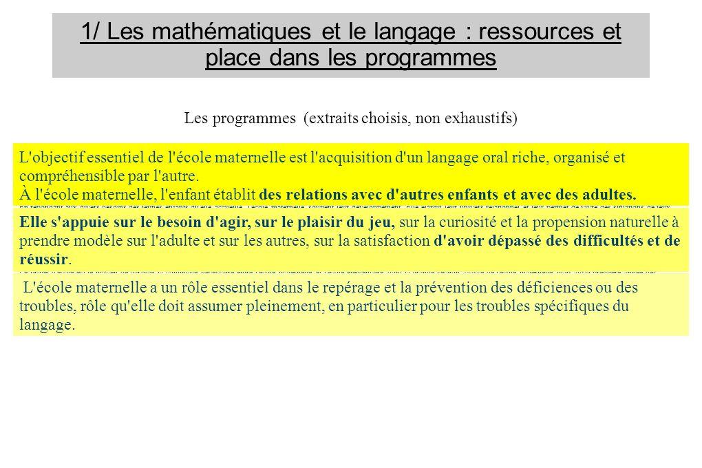 1/ Les mathématiques et le langage : ressources et place dans les programmes Les programmes (extraits choisis, non exhaustifs) L'école maternelle a po