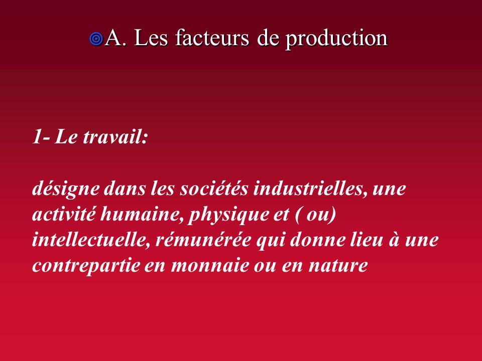 II. LE PROCESSUS PRODUCTIF: UNE FONCTION ESSENTIELLE DANS LE CIRCUIT ECONOMIQUE A. Les facteurs de production A. Les facteurs de production 1- le trav