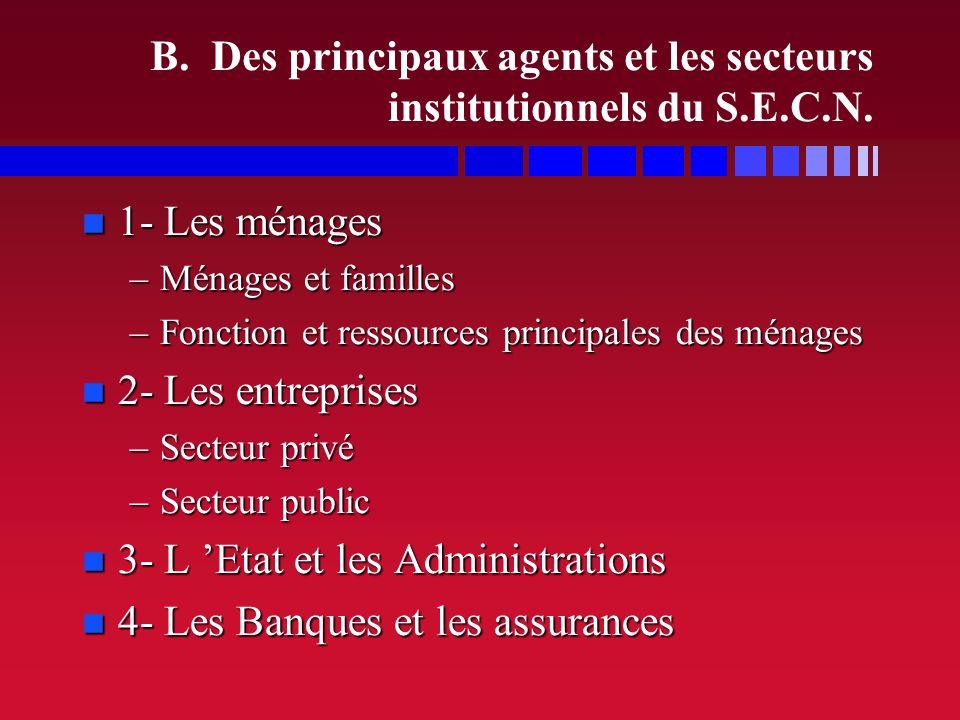 I. LES AGENTS ET LES FONCTIONS MACRO-ECONOMIQUES A. Différents types de classement pour les acteurs éco. et sociaux B. Les principaux agents et les se