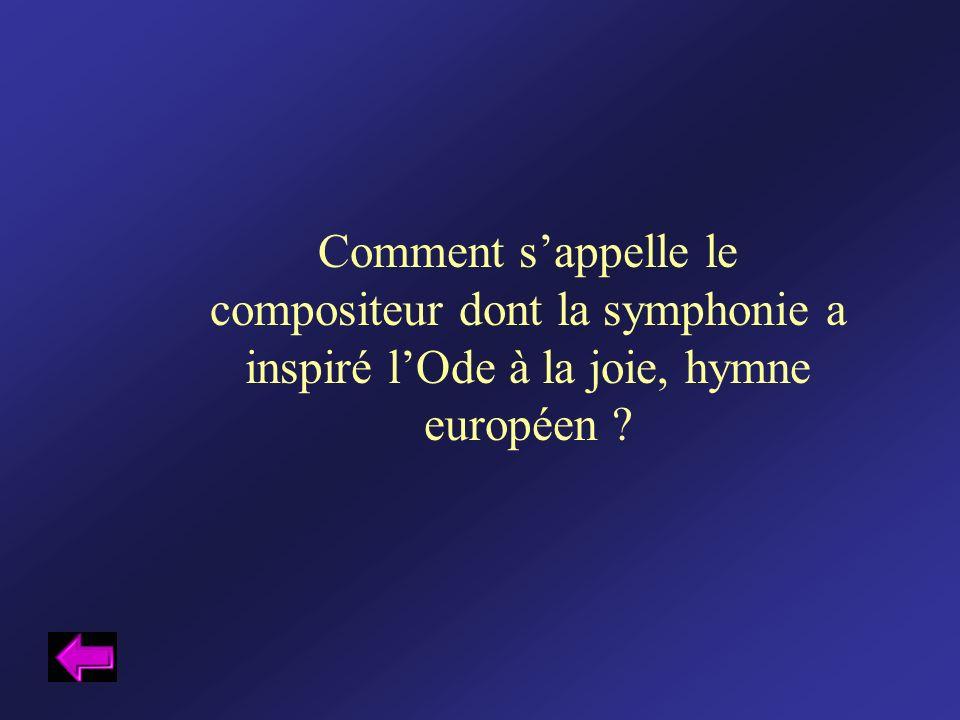 Comment sappelle le compositeur dont la symphonie a inspiré lOde à la joie, hymne européen ?
