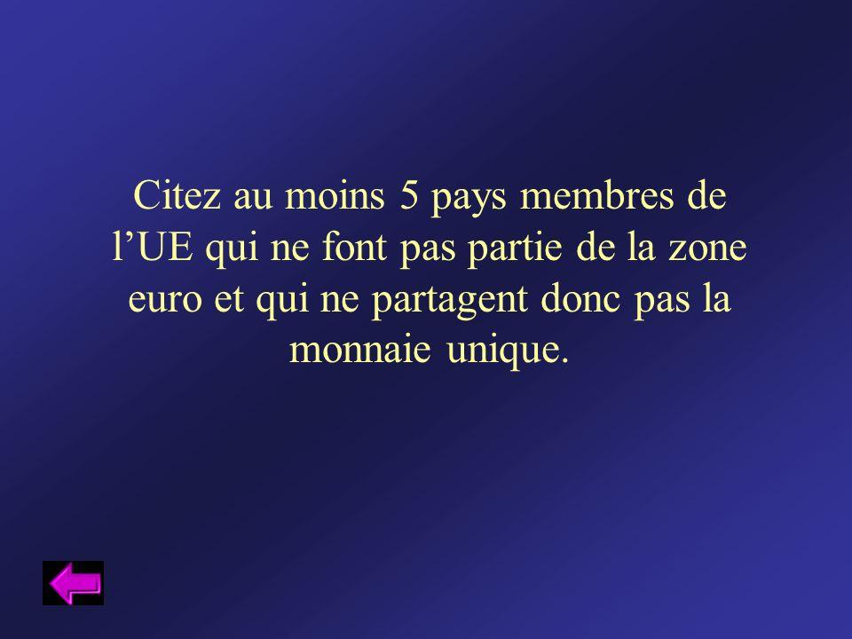 Citez au moins 5 pays membres de lUE qui ne font pas partie de la zone euro et qui ne partagent donc pas la monnaie unique.