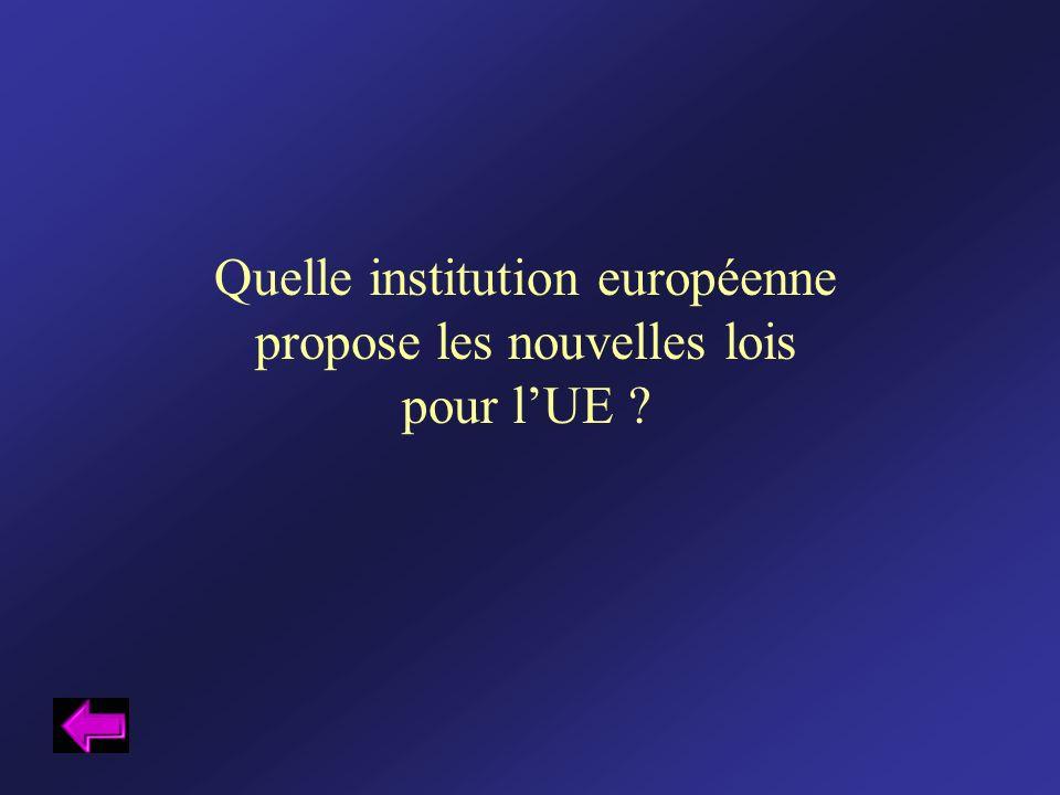 Quelle institution européenne propose les nouvelles lois pour lUE ?