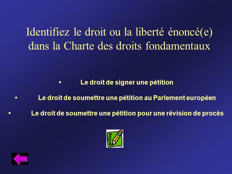 Identifiez le droit ou la liberté énoncé(e) dans la Charte des droits fondamentaux Le droit de signer une pétition Le droit de soumettre une pétition