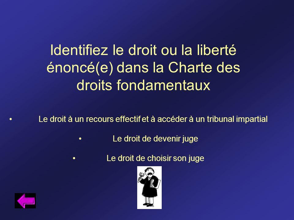Identifiez le droit ou la liberté énoncé(e) dans la Charte des droits fondamentaux Le droit à un recours effectif et à accéder à un tribunal impartial