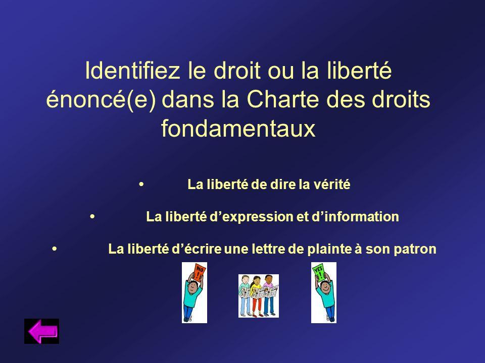 Identifiez le droit ou la liberté énoncé(e) dans la Charte des droits fondamentaux La liberté de dire la vérité La liberté dexpression et dinformation