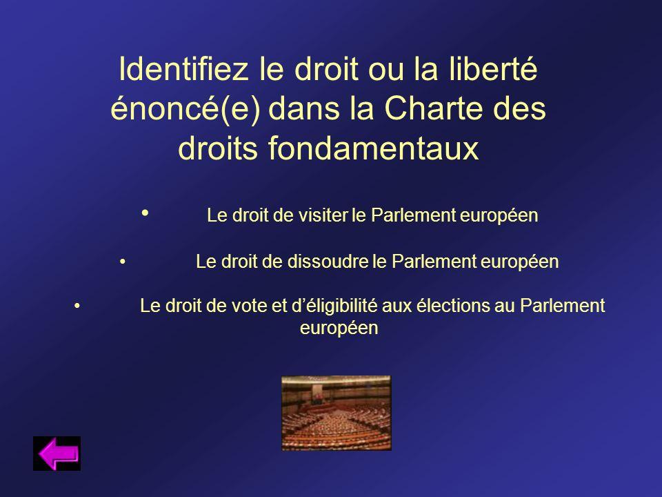 Identifiez le droit ou la liberté énoncé(e) dans la Charte des droits fondamentaux Le droit de visiter le Parlement européen Le droit de dissoudre le