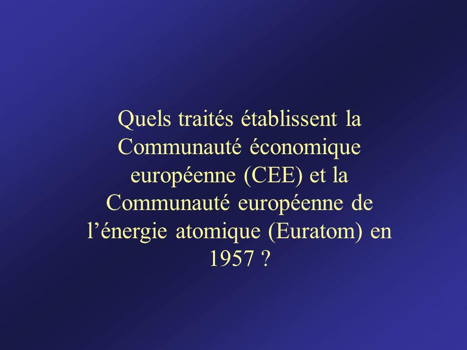 Quels traités établissent la Communauté économique européenne (CEE) et la Communauté européenne de lénergie atomique (Euratom) en 1957 ?