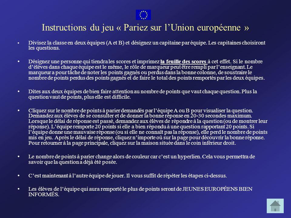 Instructions du jeu « Pariez sur lUnion européenne » Divisez la classe en deux équipes (A et B) et désignez un capitaine par équipe. Les capitaines ch