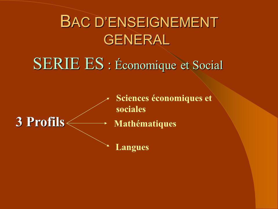 B AC DENSEIGNEMENT GENERAL B AC DENSEIGNEMENT GENERAL 3 Profils Sciences économiques et sociales Mathématiques Langues SERIE ES : Économique et Social