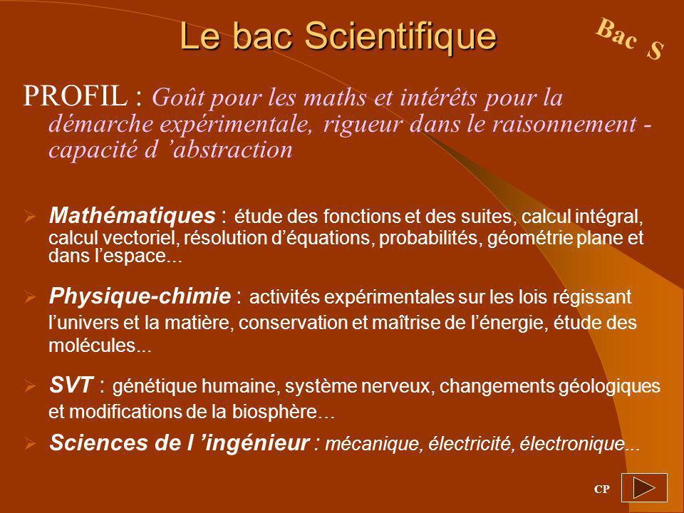 Le bac Scientifique PROFIL : Goût pour les maths et intérêts pour la démarche expérimentale, rigueur dans le raisonnement - capacité d abstraction Mat