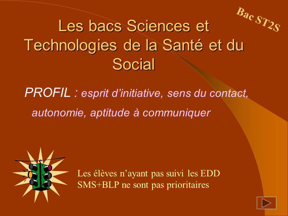 Les bacs Sciences et Technologies de la Santé et du Social PROFIL : esprit dinitiative, sens du contact, autonomie, aptitude à communiquer Bac ST2S Le