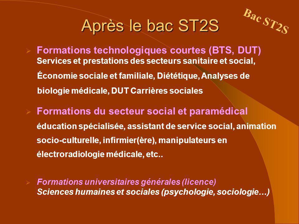 Après le bac ST2S Formations technologiques courtes (BTS, DUT) Services et prestations des secteurs sanitaire et social, Économie sociale et familiale