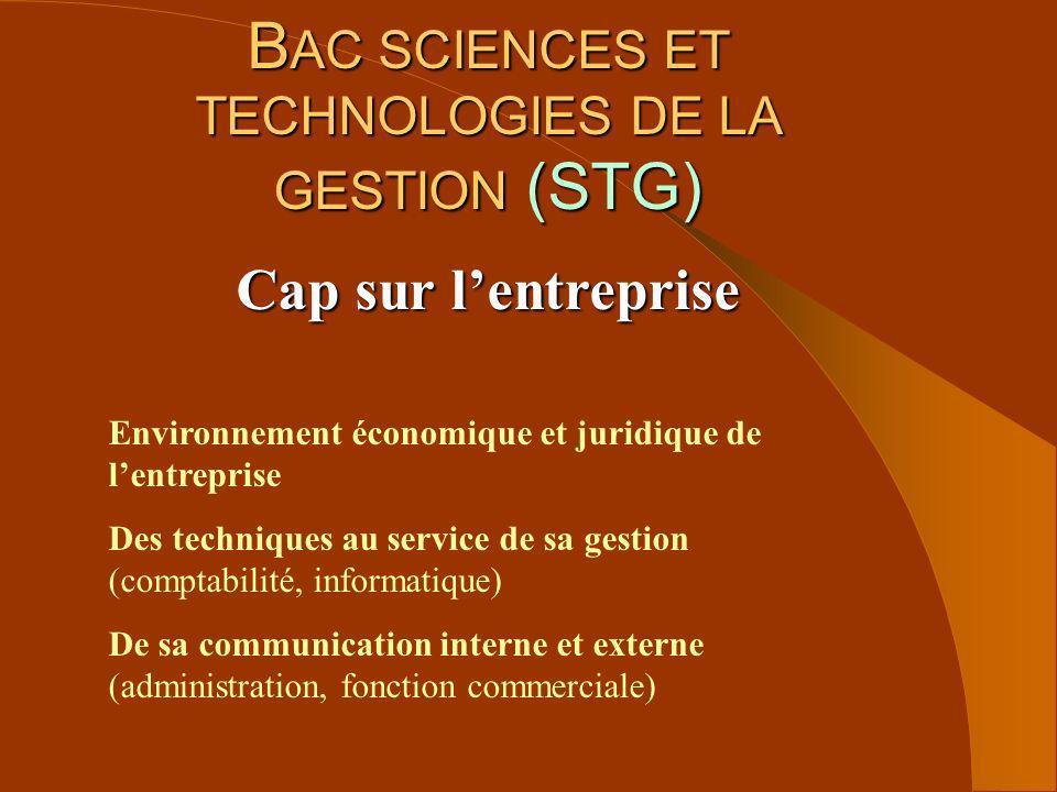 B AC SCIENCES ET TECHNOLOGIES DE LA GESTION (STG) Cap sur lentreprise Environnement économique et juridique de lentreprise Des techniques au service d