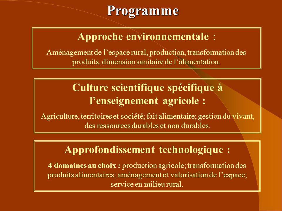 Programme Culture scientifique spécifique à lenseignement agricole : Agriculture, territoires et société; fait alimentaire; gestion du vivant, des res