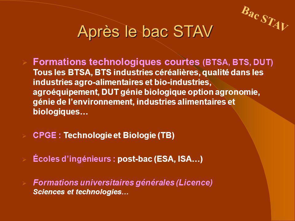 Après le bac STAV Formations technologiques courtes (BTSA, BTS, DUT) Tous les BTSA, BTS industries céréalières, qualité dans les industries agro-alime
