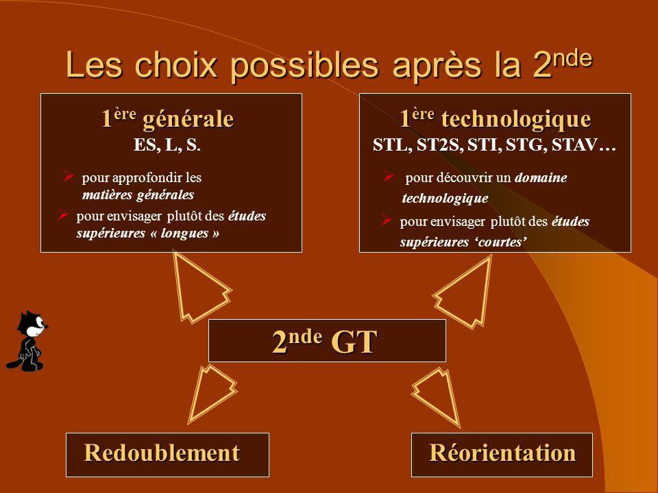Les choix possibles après la 2 nde 2 nde GT 1 ère générale ES, L, S. pour approfondir les matières générales pour envisager plutôt des études supérieu
