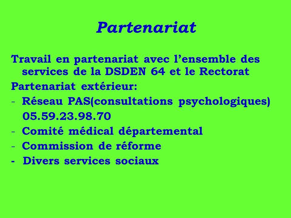 Partenariat Travail en partenariat avec lensemble des services de la DSDEN 64 et le Rectorat Partenariat extérieur: - Réseau PAS(consultations psychol