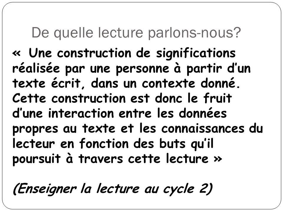 De quelle lecture parlons-nous? « Une construction de significations réalisée par une personne à partir dun texte écrit, dans un contexte donné. Cette