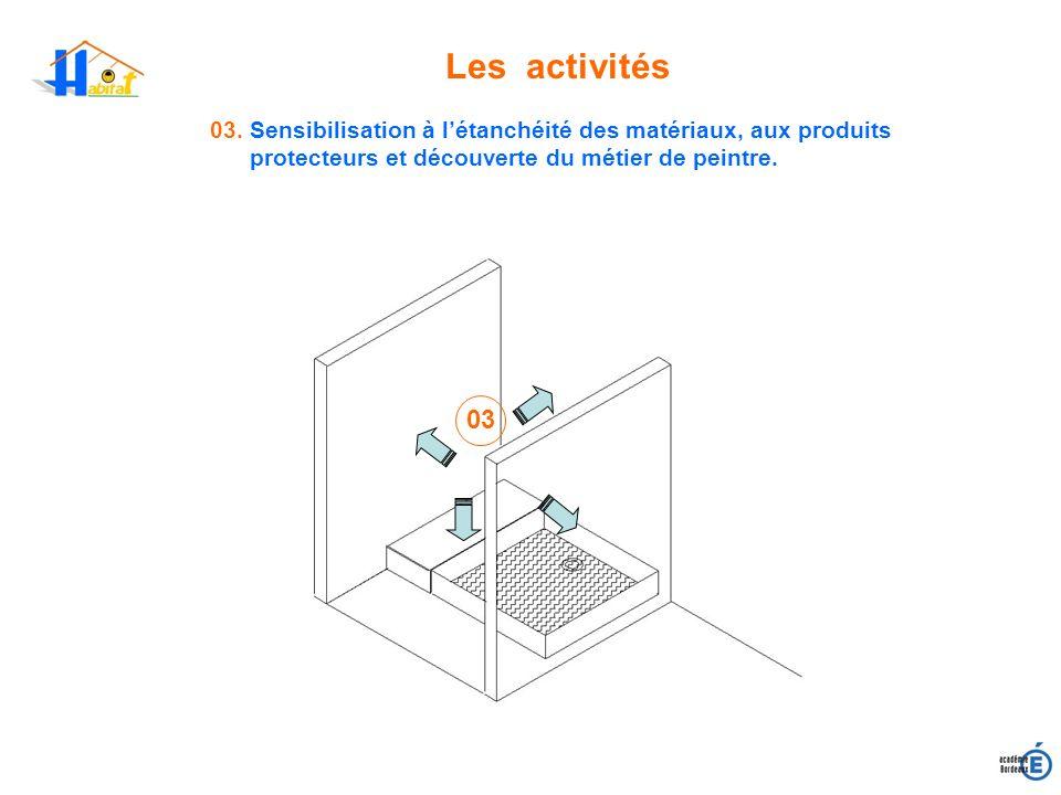 Les activités 03. Sensibilisation à létanchéité des matériaux, aux produits protecteurs et découverte du métier de peintre. 03