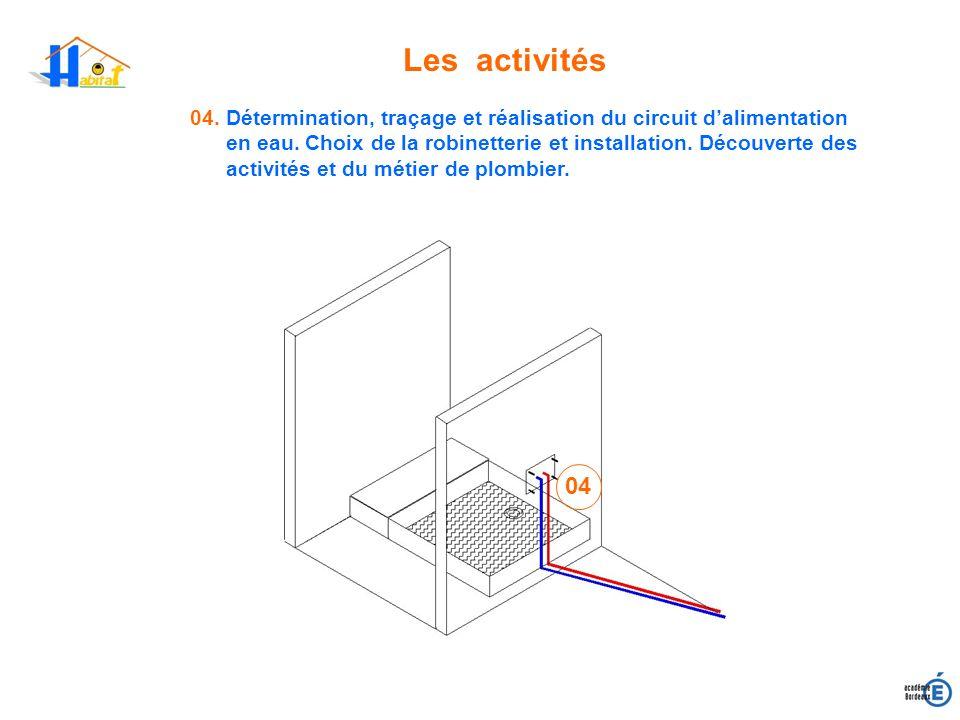 Les activités 04. Détermination, traçage et réalisation du circuit dalimentation en eau. Choix de la robinetterie et installation. Découverte des acti