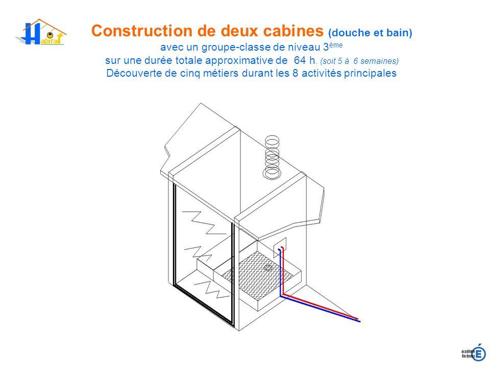 Construction de deux cabines (douche et bain) avec un groupe-classe de niveau 3 ème sur une durée totale approximative de 64 h. (soit 5 à 6 semaines)