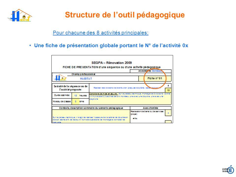 Structure de loutil pédagogique Pour chacune des 8 activités principales: Une fiche de présentation globale portant le N° de lactivité 0x