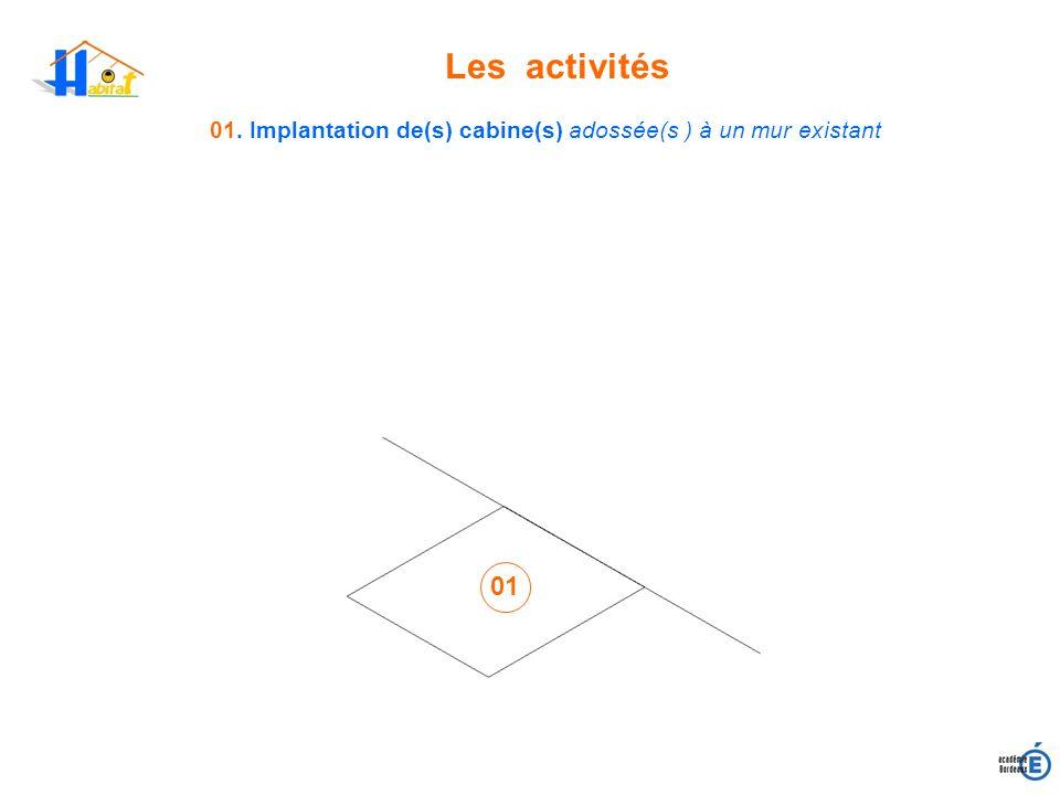 Les activités 01. Implantation de(s) cabine(s) adossée(s ) à un mur existant 01
