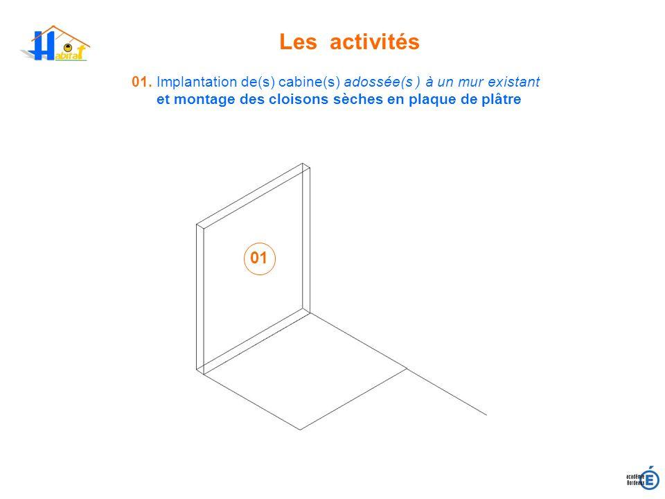 Les activités 01. Implantation de(s) cabine(s) adossée(s ) à un mur existant et montage des cloisons sèches en plaque de plâtre 01