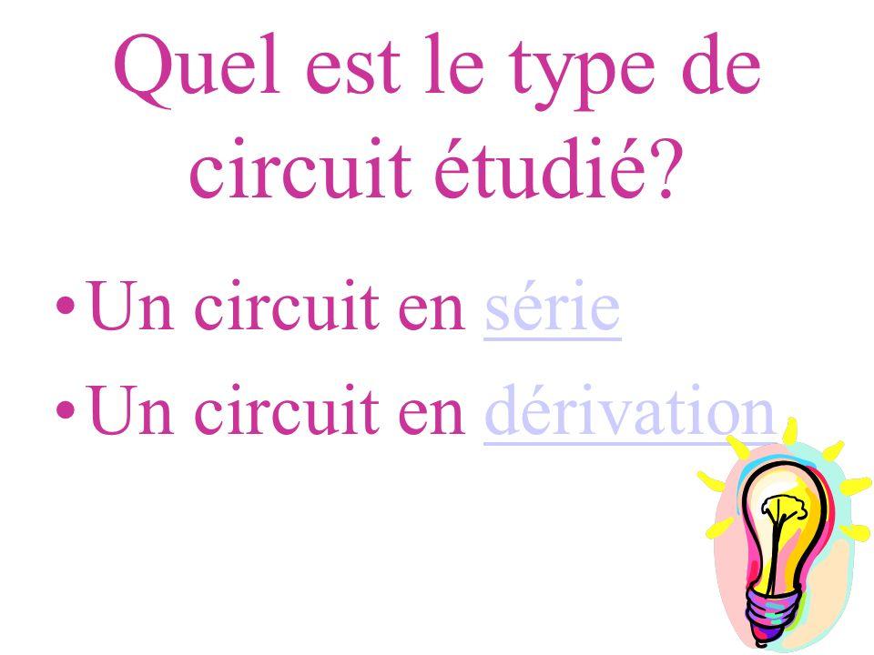 Quel est le type de circuit étudié? Un circuit en sériesérie Un circuit en dérivationdérivation