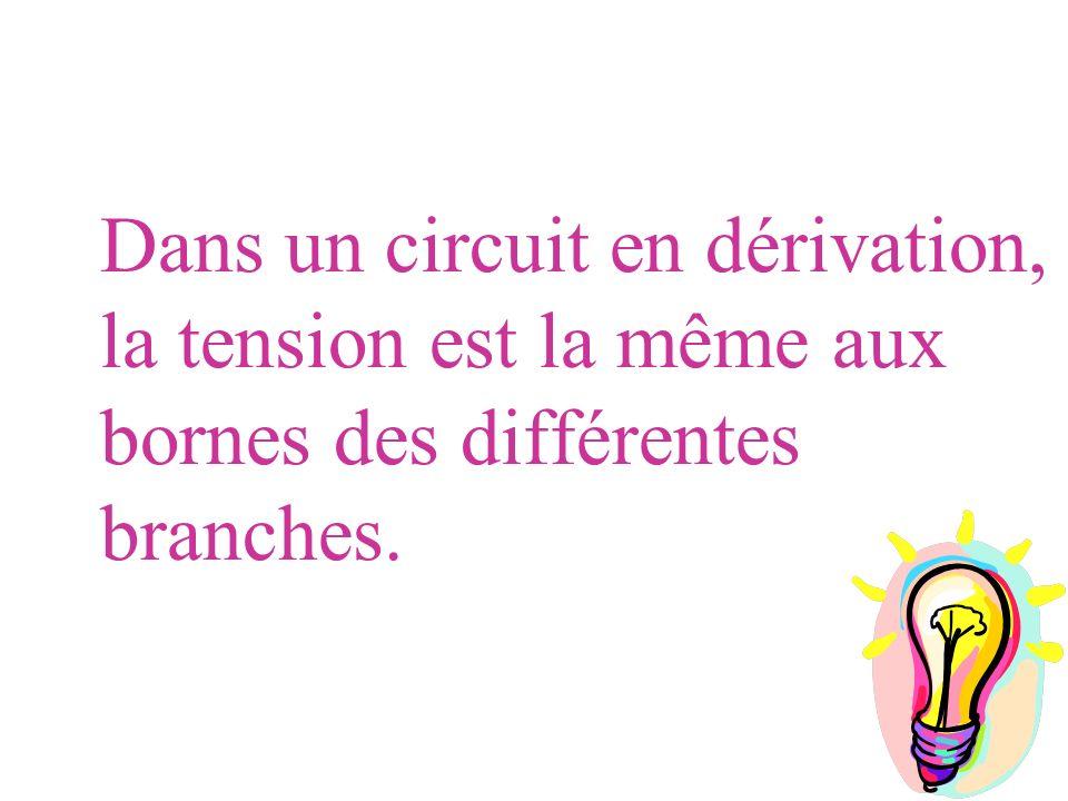 Dans un circuit en dérivation, la tension est la même aux bornes des différentes branches.