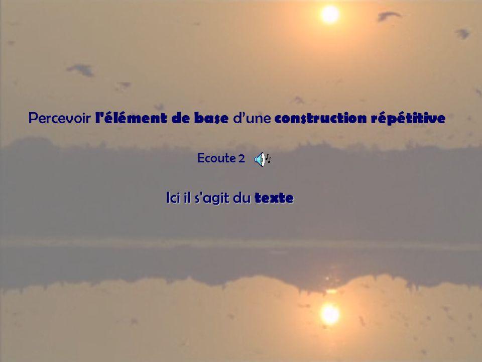 Percevoir l élément de base dune construction répétitive Ecoute 2 Ici il s agit du texte