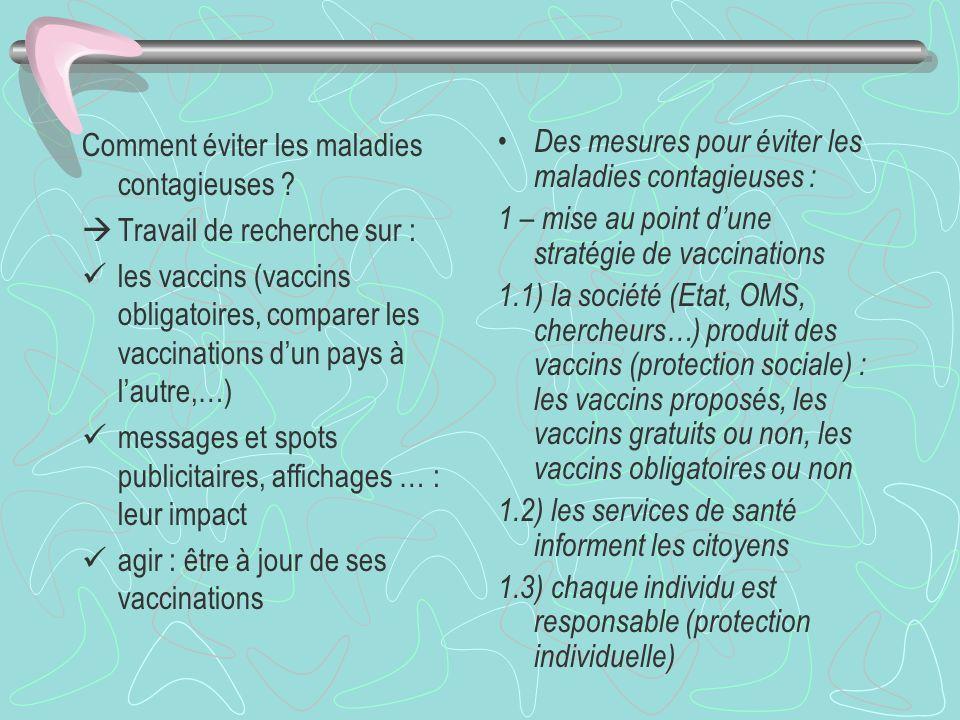 Des mesures collectives permettant déviter des maladies infectieuses ( partie E, exemple) Motiver la classe avec un exemple connu : la grippe Rappel à propos de la maladie (épidémie) et à propos de la campagne de vaccination Pourquoi se faire vacciner Lancer un travail de recherche pour aboutir aux points 1, 2 et 3 Les intérêts de la vaccination : 1 – pour ne pas être malade (individuel) 2 – pour ne pas contaminer les autres (collectif) 3 – intérêt économique (arrêts de travail, coût …)
