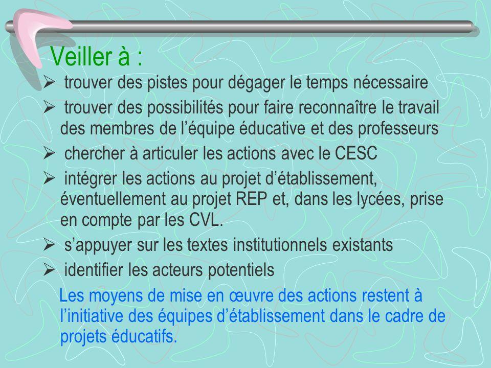 Veiller à : trouver des pistes pour dégager le temps nécessaire trouver des possibilités pour faire reconnaître le travail des membres de léquipe éducative et des professeurs chercher à articuler les actions avec le CESC intégrer les actions au projet détablissement, éventuellement au projet REP et, dans les lycées, prise en compte par les CVL.