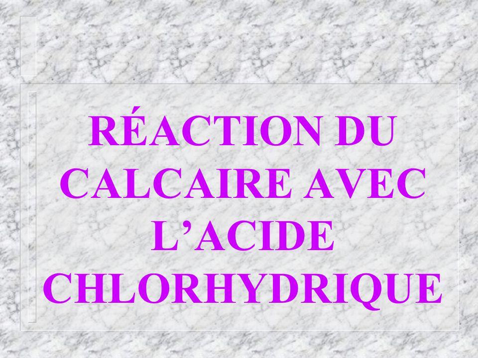RÉACTION DU CALCAIRE AVEC LACIDE CHLORHYDRIQUE