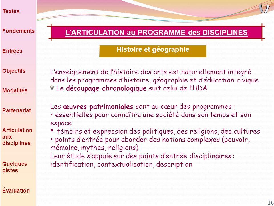 Lenseignement de lhistoire des arts est naturellement intégré dans les programmes dhistoire, géographie et déducation civique.