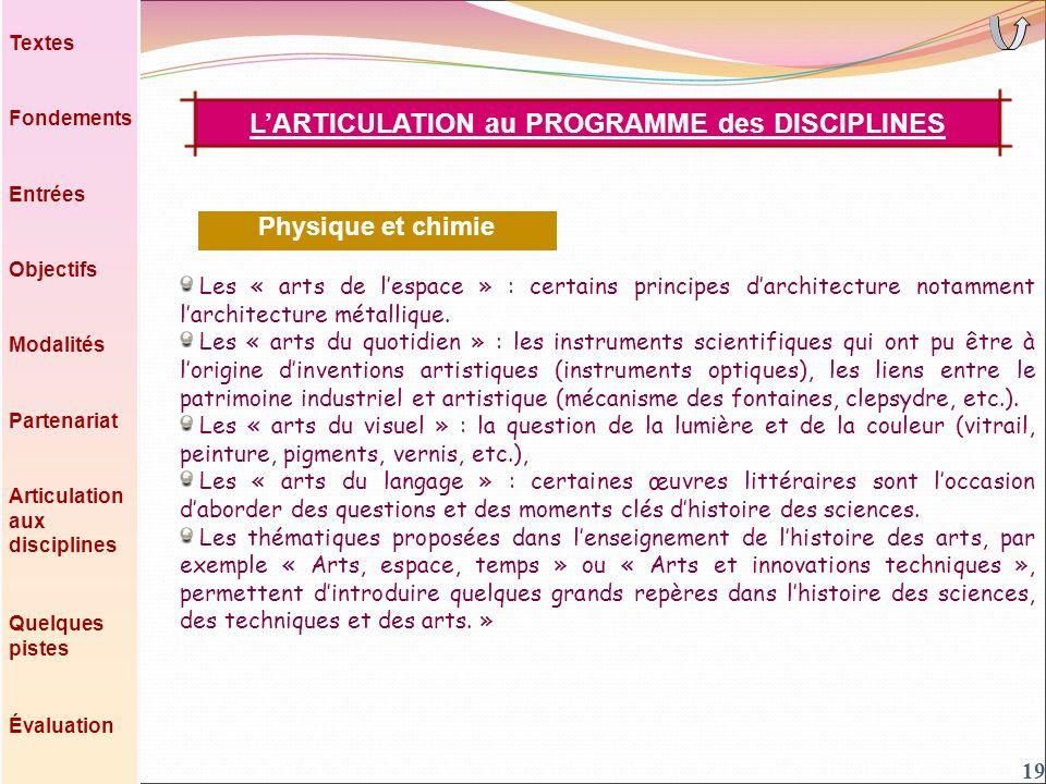 19 Les « arts de lespace » : certains principes darchitecture notamment larchitecture métallique.