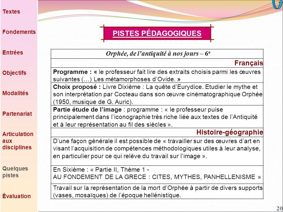 20 Orphée, de lantiquité à nos jours – 6 e Français Programme : « le professeur fait lire des extraits choisis parmi les œuvres suivantes (…) Les métamorphoses dOvide.
