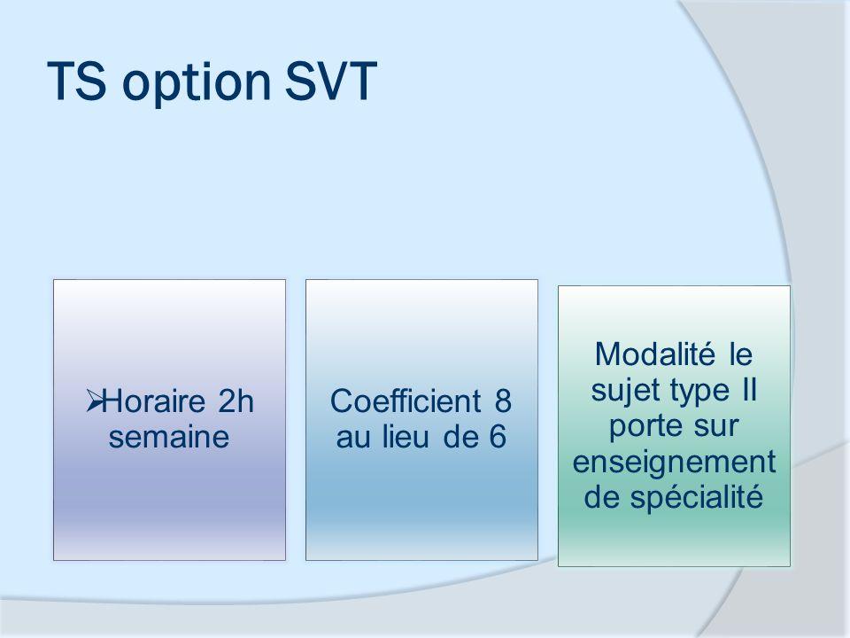 TS option SVT Horaire 2h semaine Coefficient 8 au lieu de 6 Modalité le sujet type II porte sur enseignement de spécialité