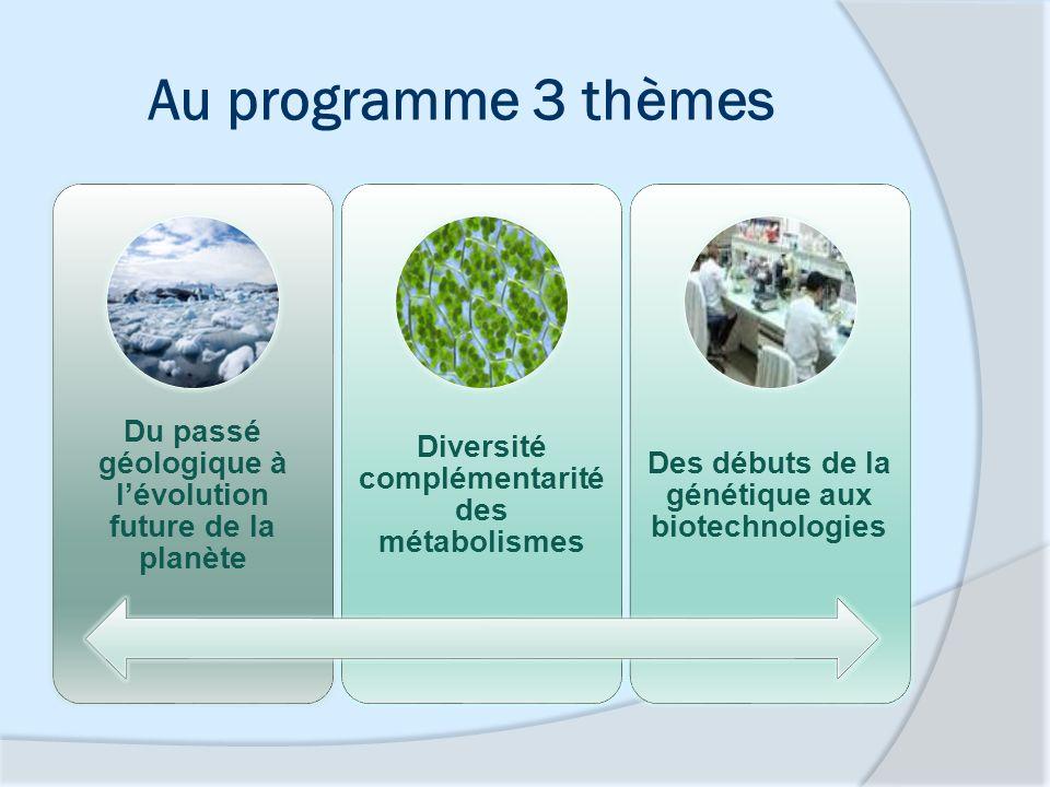 Au programme 3 thèmes Du passé géologique à lévolution future de la planète Diversité complémentarité des métabolismes Des débuts de la génétique aux