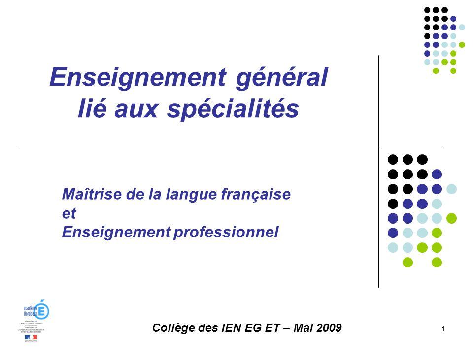 Enseignement général lié aux spécialités 1 Collège des IEN EG ET – Mai 2009 Maîtrise de la langue française et Enseignement professionnel