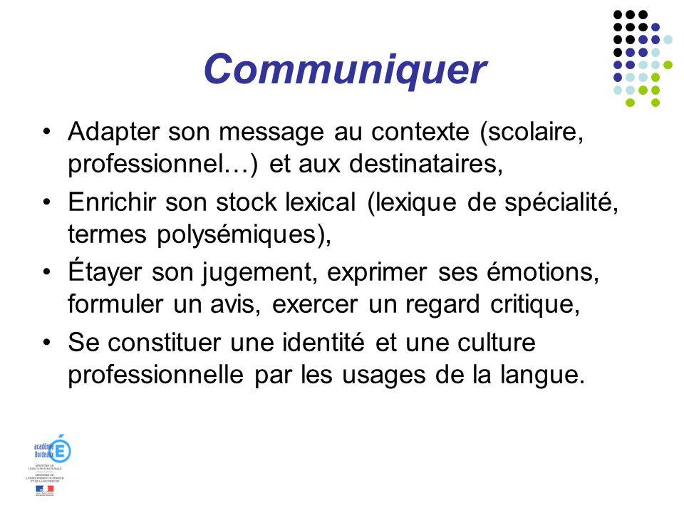 Communiquer Adapter son message au contexte (scolaire, professionnel…) et aux destinataires, Enrichir son stock lexical (lexique de spécialité, termes