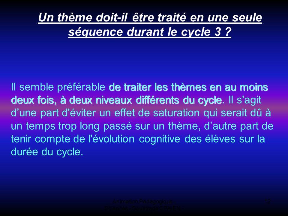 Animation Pédagogique - Sciences - Soustrade CPAIEN - 31/1 et 7/2 12 Un thème doit-il être traité en une seule séquence durant le cycle 3 ? de traiter